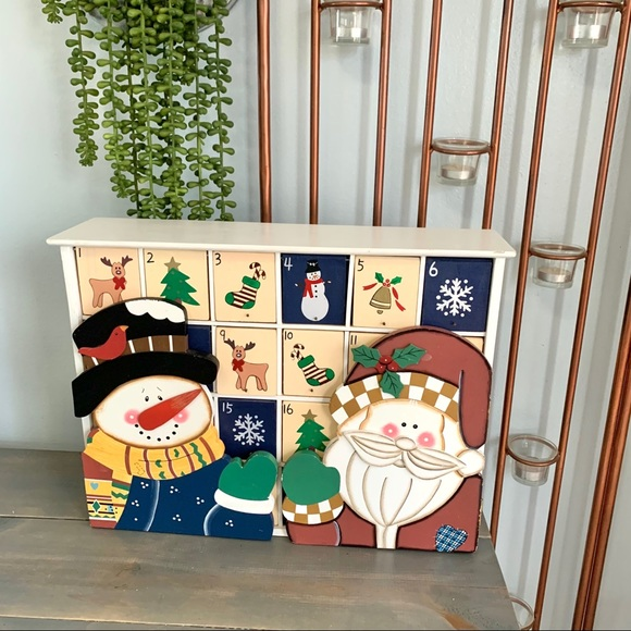 Vintage Christmas Wooden Advent Calendar Cubbies